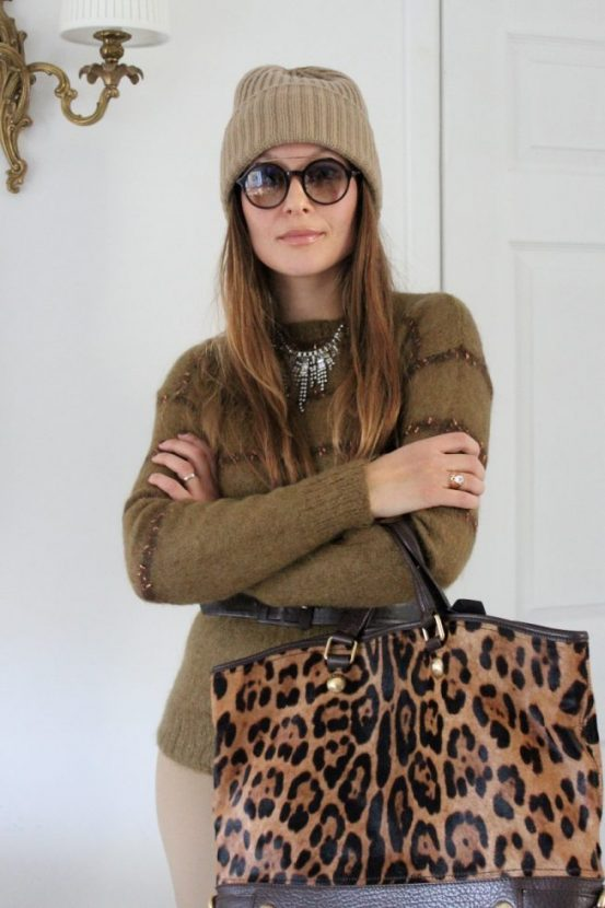 Dolce & Gabbana leopard bag, vintage jumper, F21 necklace, Gucci fashion show sunglasses, vintage belt, Michel Korrs hat