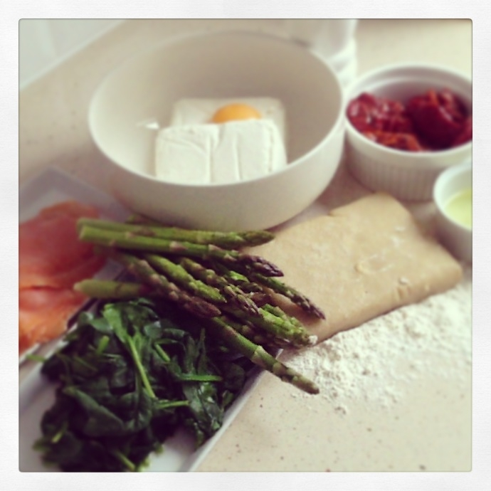 Shortcrust pastry, cottage cheese, egg, smoke salmon, baby spinach, asparagus, sun dry tomatoes