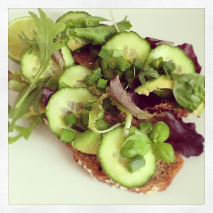 soda bred, avocado, cucumber, mix of baby leafs