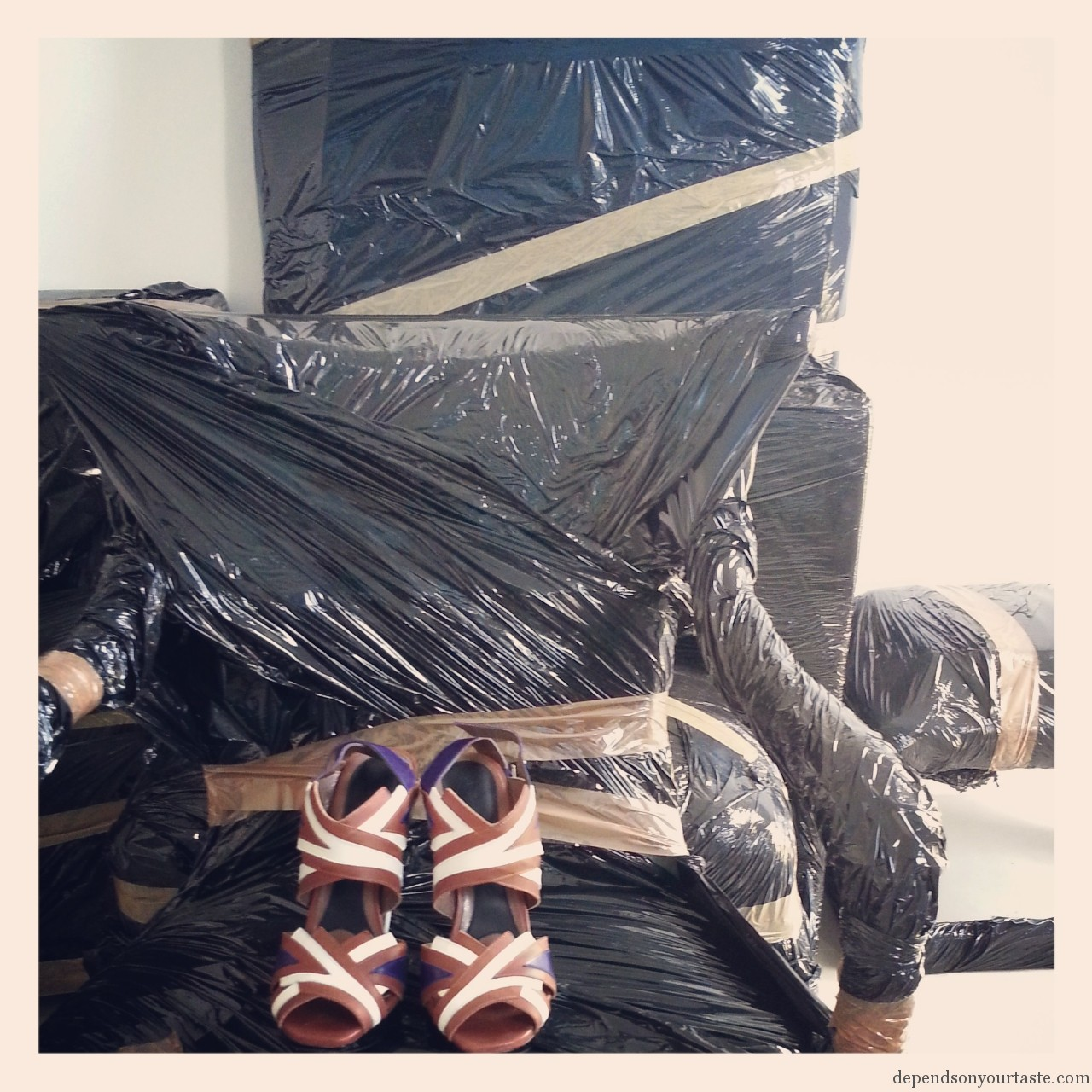marni sandals, vintage black long dress, palm table lamp ,packing , moving
