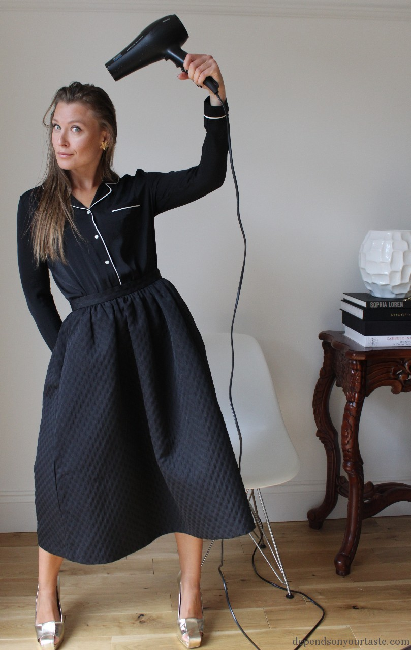 how to wear pajamas in public, pajamas fashion, dolce gabbana pajamas , hm , h&m trend skirt, big black skirt , fashion look, fashion shoot, styling london , styling wioletta walas, ysl gold shoes, ysl vintage, depends on your taste , vogue,
