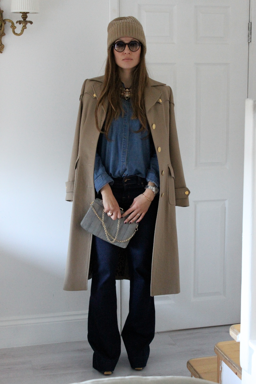 Dolce & Gabbana coat, H&M denim shirt, J brand jeans, Michael Kors hat, Vintage bag, Gucci shoes, Prada necklace, Gucci sunglasses, #denim on denim