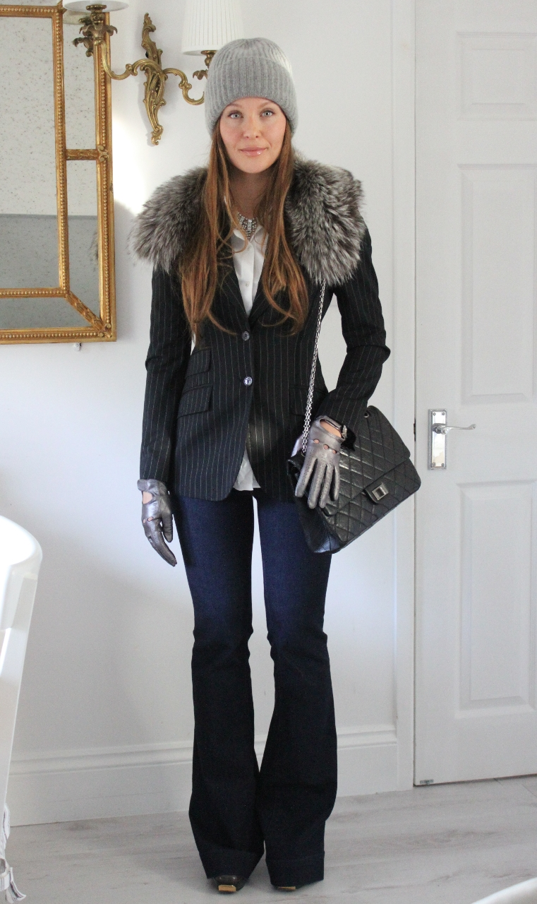 Dolce & Gabbana jacket, Dolce & Gabbana shirt, J brand jeans, Michael Kors hat, Chanel bag, Gucci shoes, Fur collar custom made, Leather gloves no name, F21 necklace