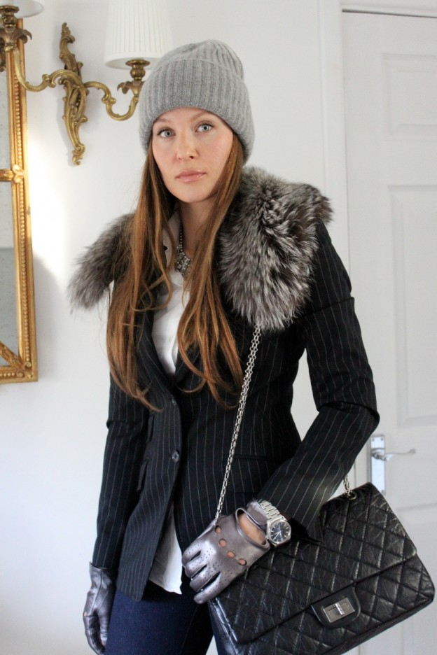 Dolce & Gabbana jacket, Dolce & Gabbana shirt, J brand jeans, Michael Kors hat, Chanel bag, Fur collar custom made, Leather gloves no name, F21 necklace, my husband watch