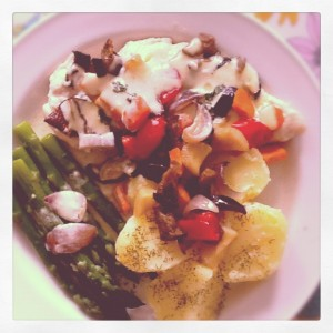Roasted vegetables whit chicken breast