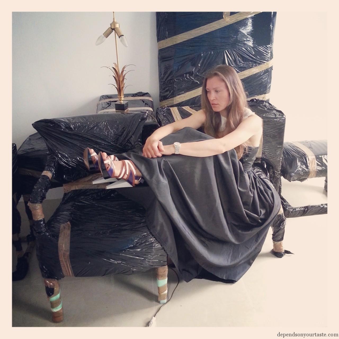 marni sandals, vintage black long dress, palm table lamp ,packing , moving
