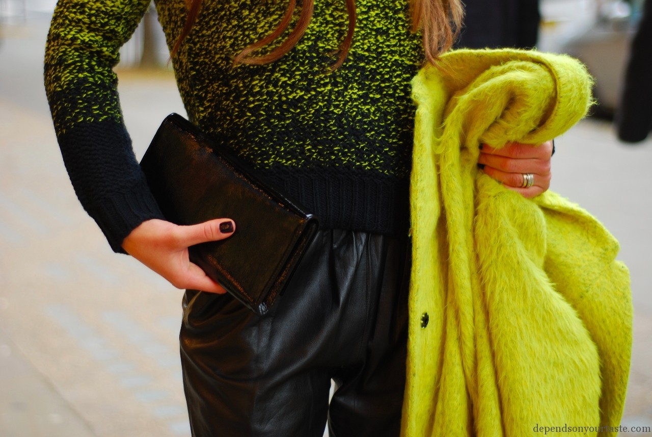 yellow topshop coat, leather trousers , christian louboutin boots , neon green knitwear topshop, sloane st london fashion look , street style, victoria beckham mirrored sunglasses