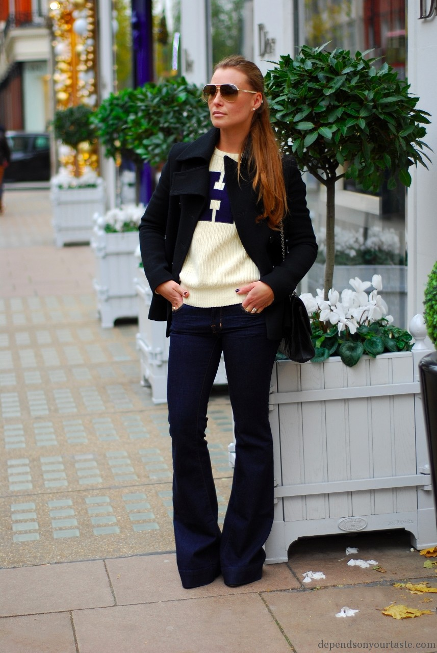 jacket Givenchy, jeans J Brand, jumper Tommy Hilfiger, handbag Chanel, sunglasses Gucci, shoes Christian Louboutin