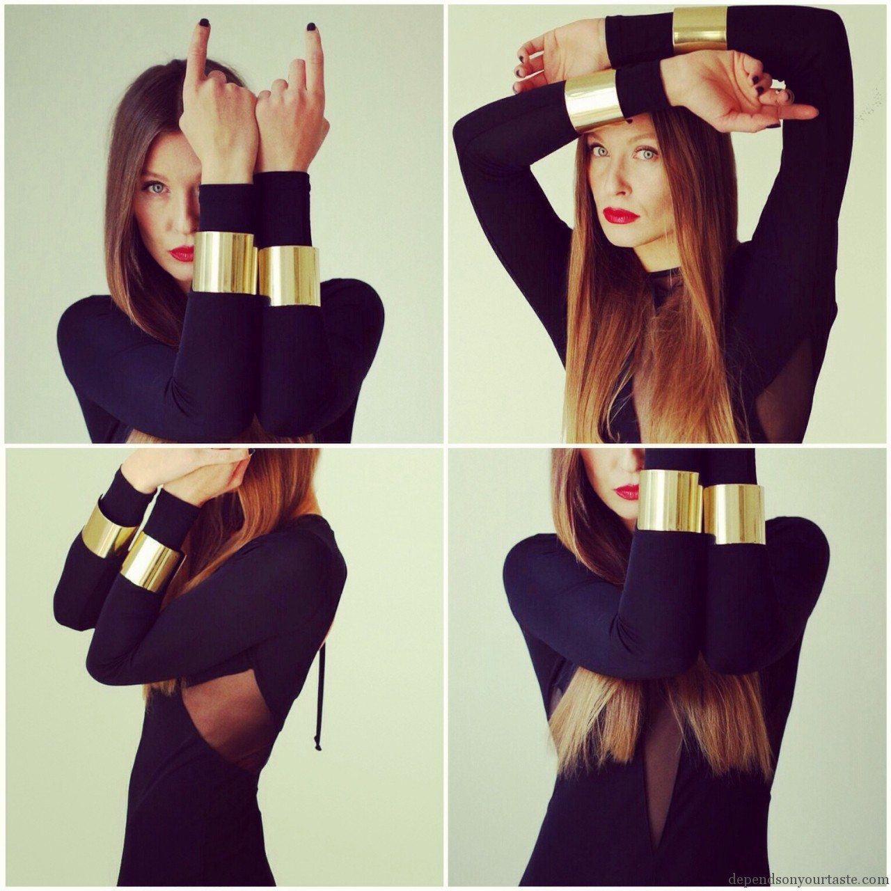 red lips ysl, black evening maxi dress, styling wioletta walas , photography aga biegluk, tom ford dress ,daft punk fashion, vogue inspiration, asos gold cuff bangles, hm long black maxi dress
