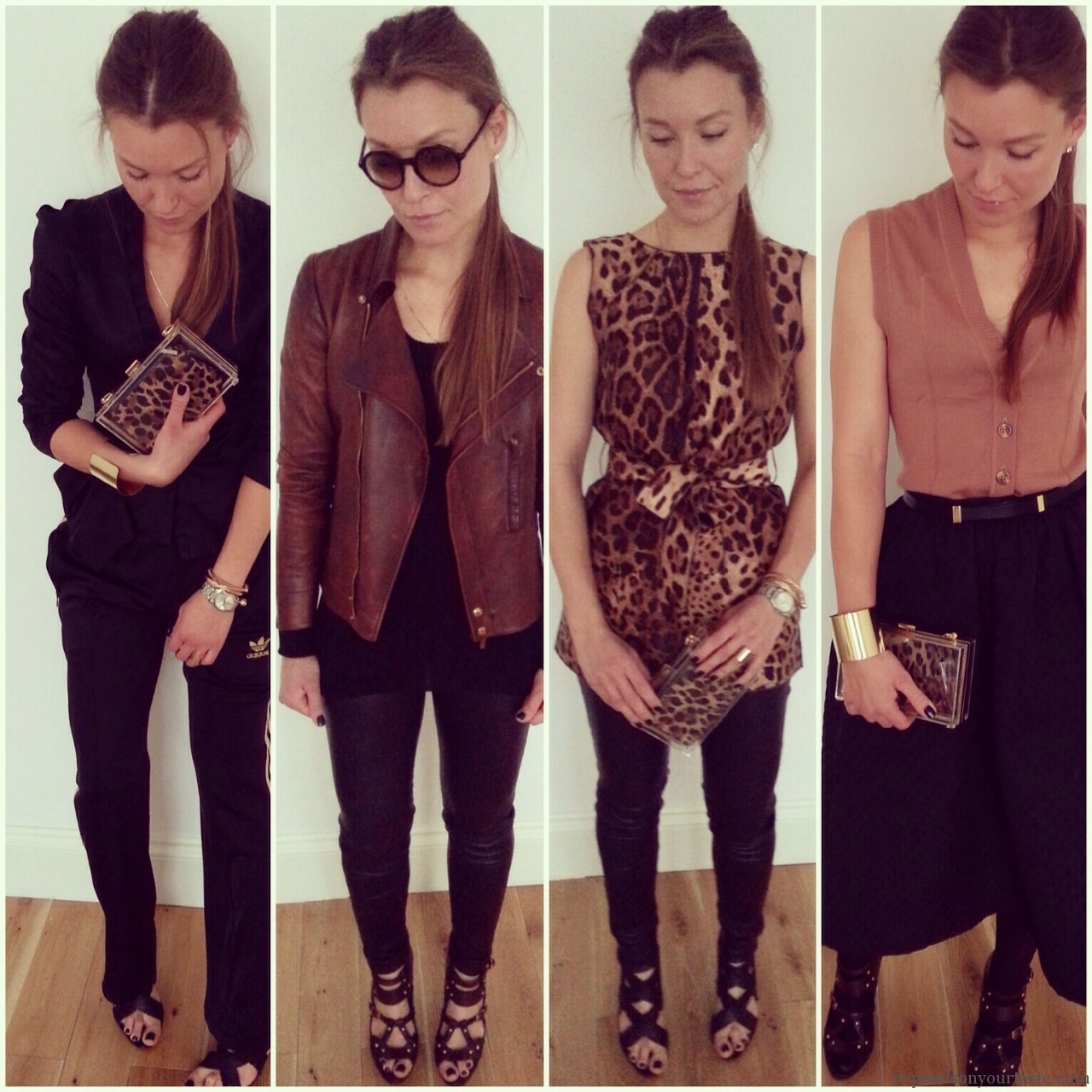 mix and match, brown and black, givenchy tshirt, ysl brown boots, gucci gladiator, givenchy black gladiator, leopard print silk dolce gabbana top , fashion looks,