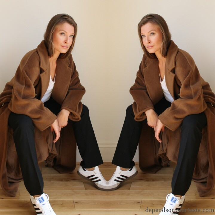 max mara tabaco coat , max mara classic coat , adidas isabel marant, trend whit trainers , fresch look, update your wordrobe, trend winter 2014, 2015, stylist london ,styling by wioletta walas, depends on your taste, kim kardashian maxmara coat, camel coat .